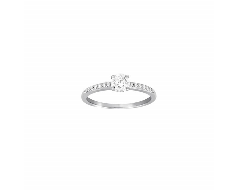 FROJO Bague Solitaire or gris diamant 0,50ct GSI + diamants sur corps 0,10ct GSI