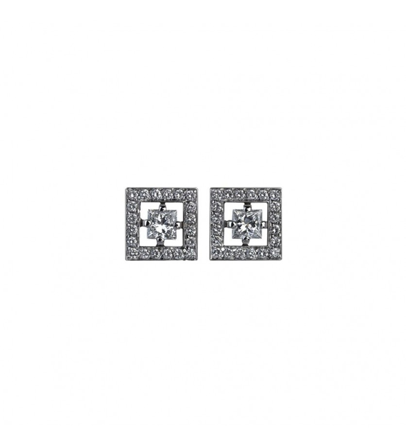 BOUCHERON Puces Ava Carré or gris diamants 0,25ct