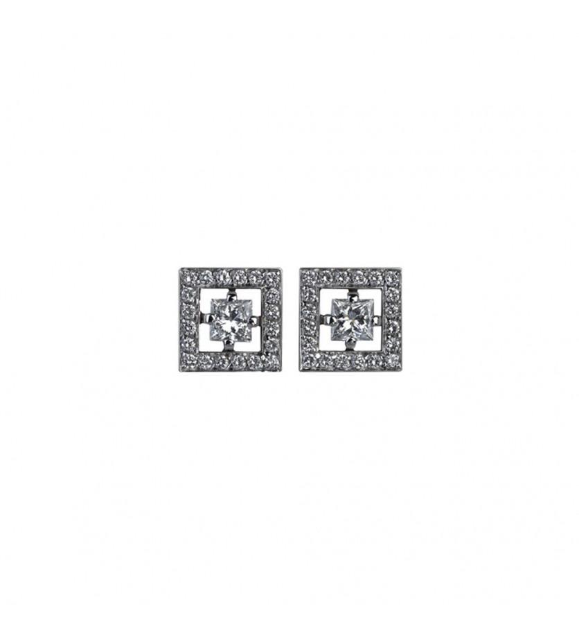 BOUCHERON Puces d'oreilles Ava carré or blanc diamants