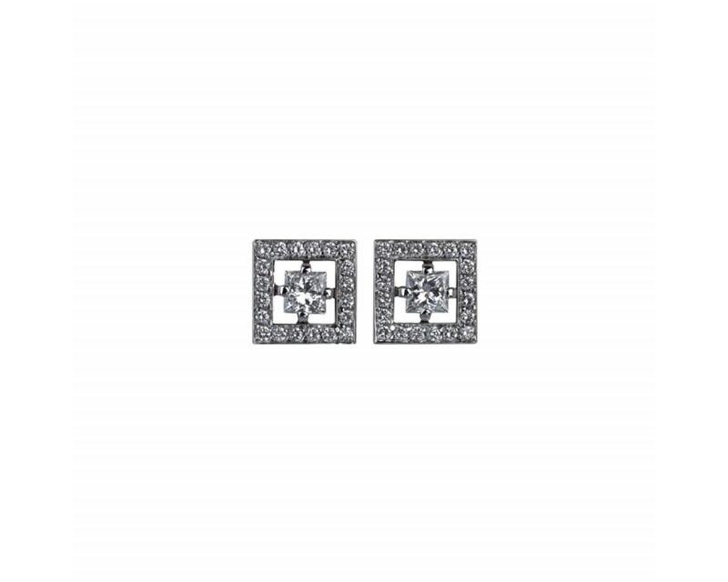 BOUCHERON Puces Ava Carré or gris diamants 0,25ct