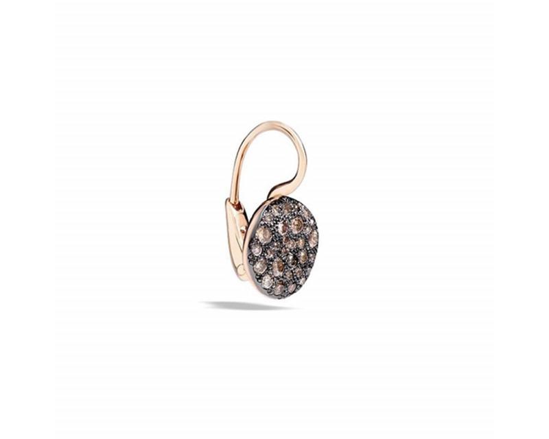 Boucle d'oreille à l'unité Sabbia or rose diamants bruns