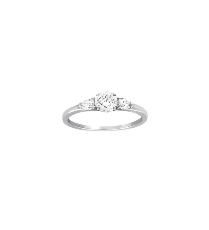 FROJO Bague solitaire or gris centre diamant taille brillant 2 diamants poires sur le côté 2x0,10c