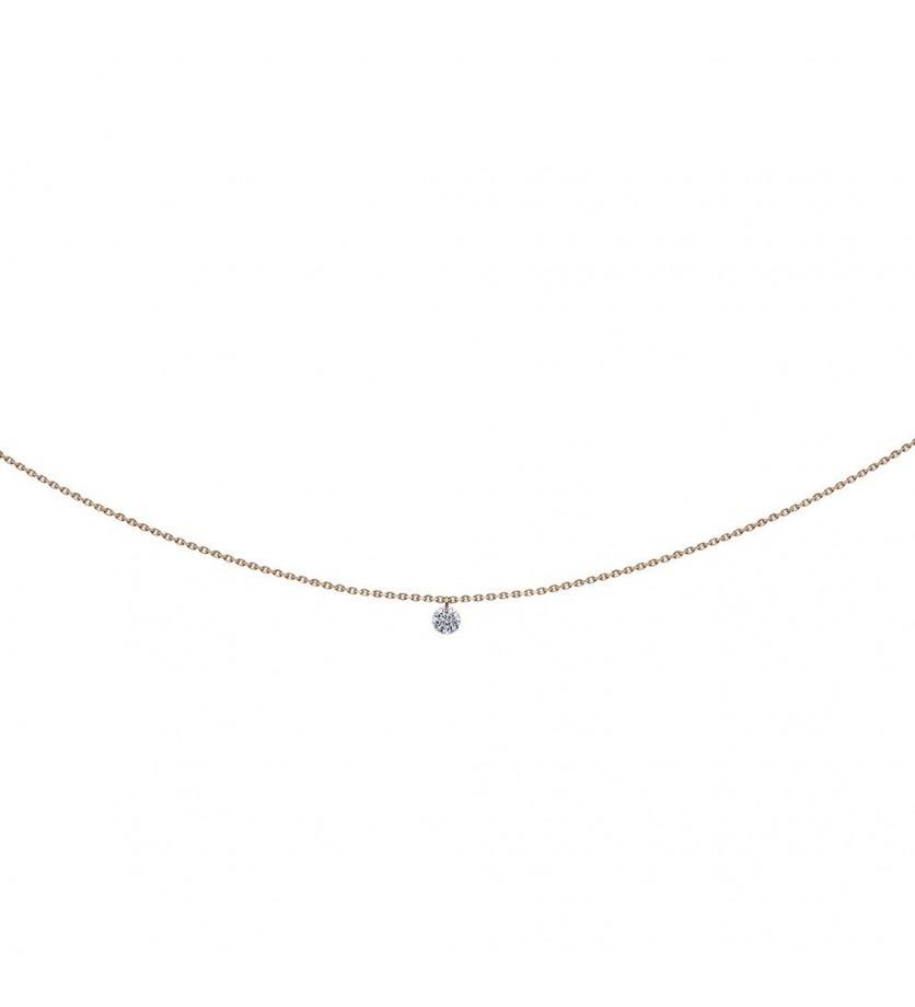 Pendentif 360° diamant brillant 0,07ct or rose sur chaine 39,5cm