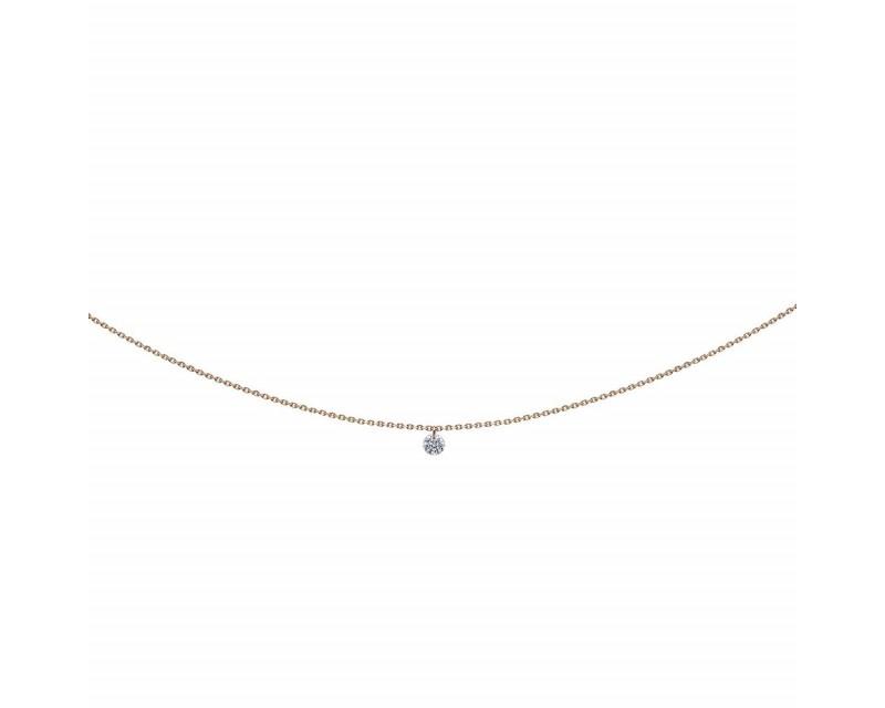 LA BRUNE ET LA BLONDE Pendentif 360° diamant brillant 0,07ct or rose chaine 39,5cm