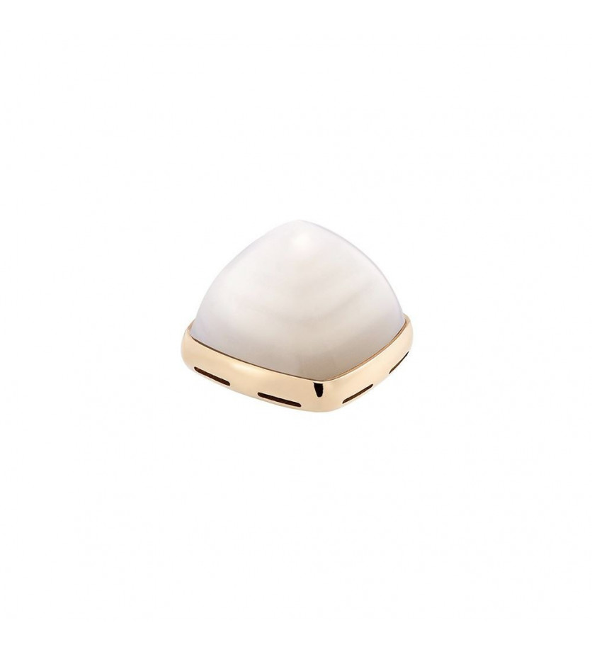 Cabochon Pain de Sucre MM or jaune nacre blanche