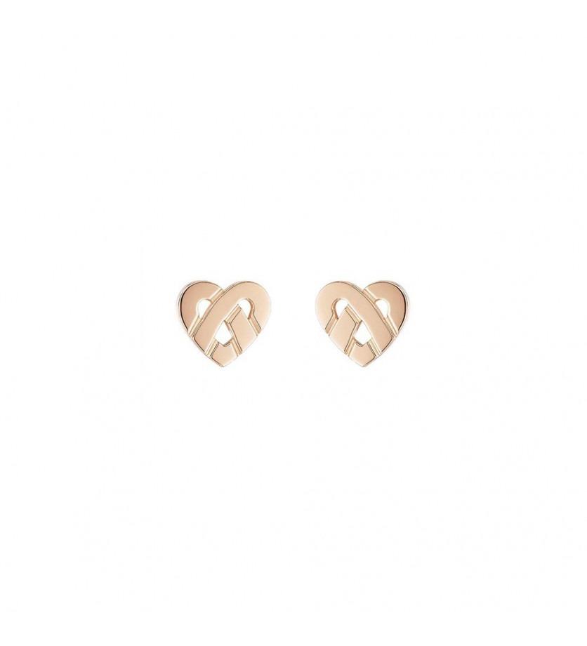 Boucles d'oreille Coeur Entrelacé mini or rose
