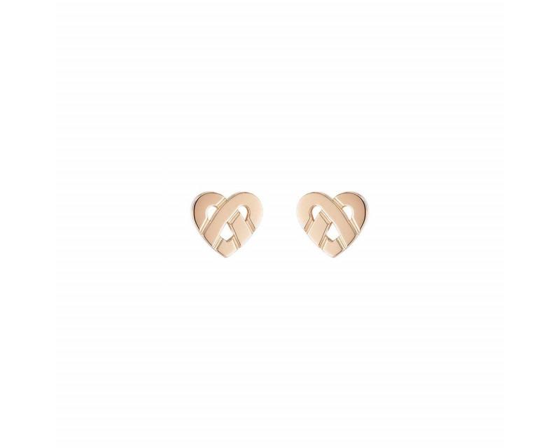 POIRAY Boucles d'oreille Coeur Entrelacé mini or rose