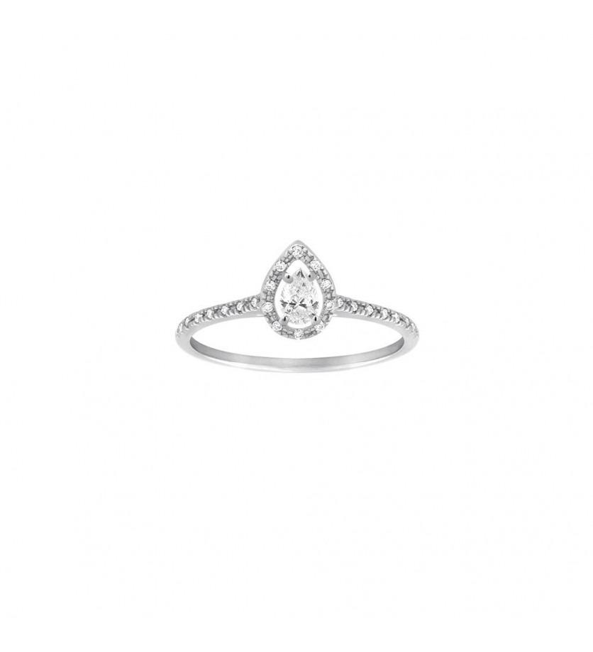 FROJO Bague or gris diamant poire 0,19ct monture pavée