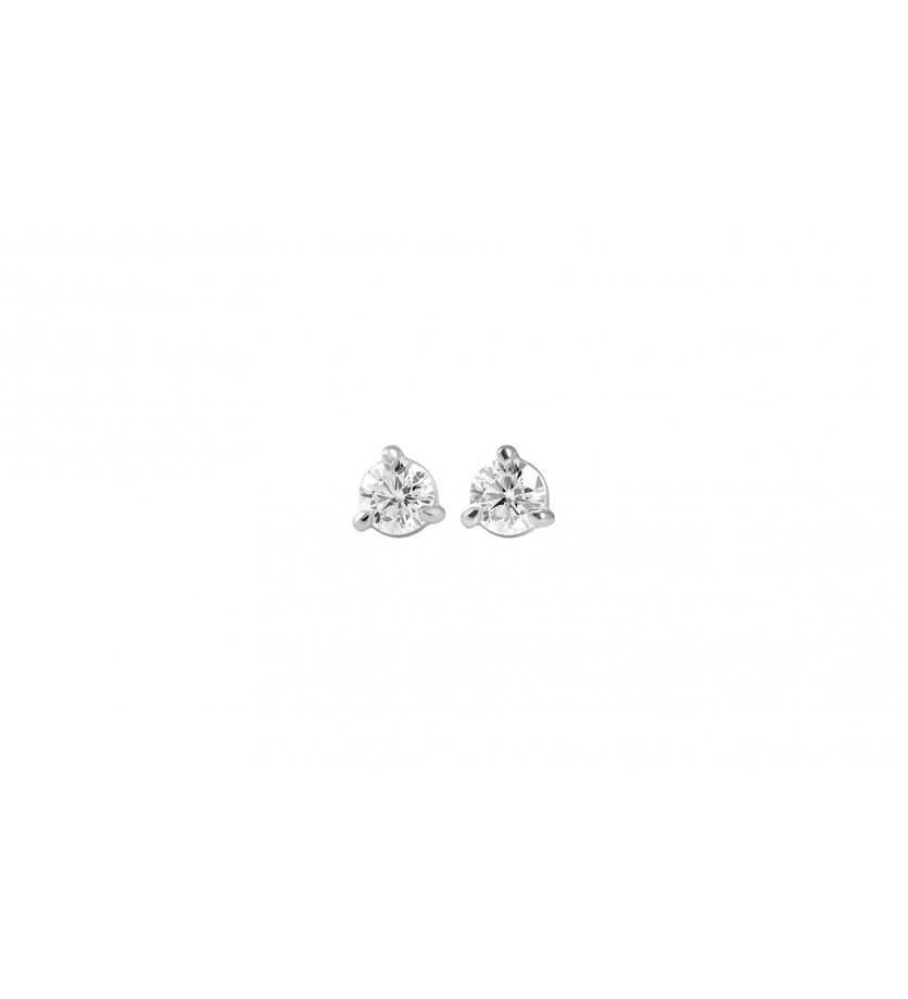 FROJO Puces diamants or gris 3 griffes 0.40ct GSI