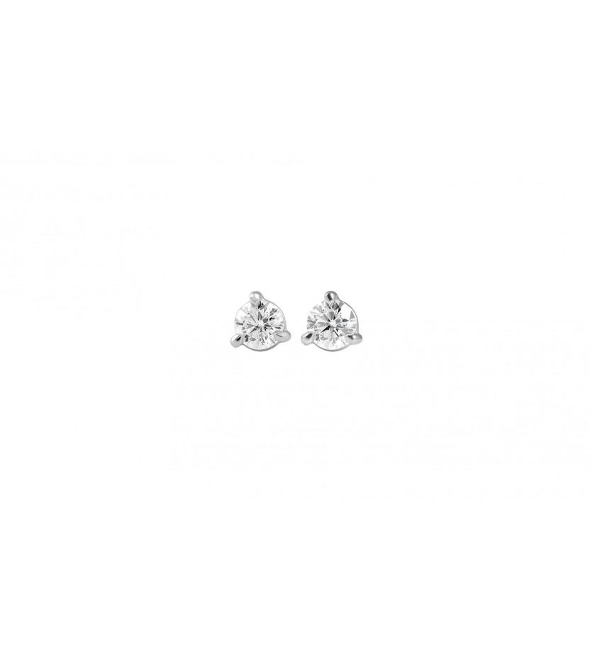 Puces diamants or gris 3 griffes 0.40ct GSI