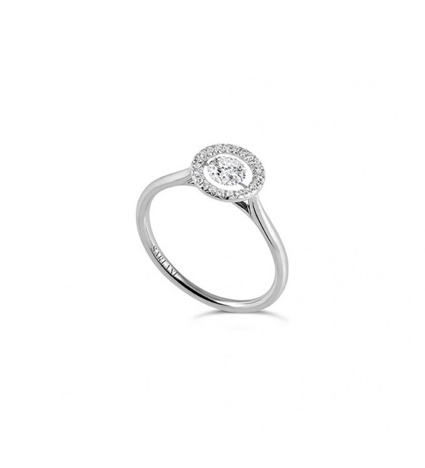 Bague Entourage diamant brillant 0,20ct pavage diamants 0,11ct FSI1