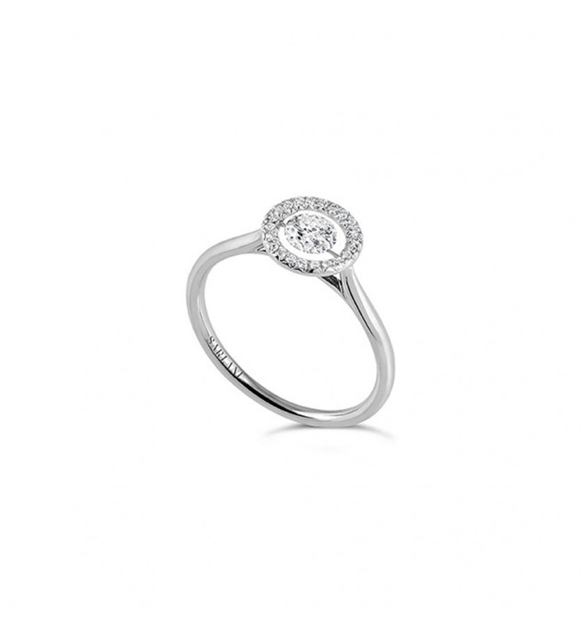 Bague Entourage diamant brillant 0,20ct pavage diamants 0,11ct FSI1
