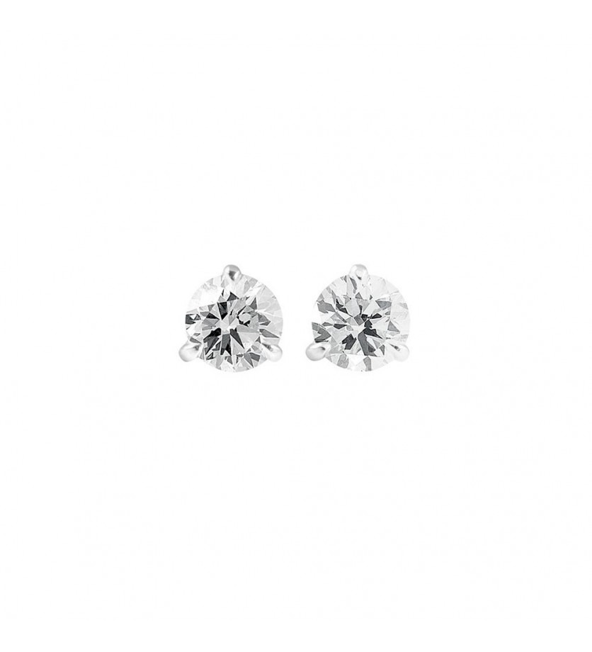 Puces d'oreille or gris 3 griffes 0,70ct GSI