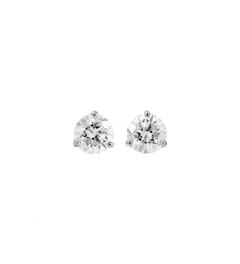 Puces d'oreille or gris diamants 0,80ct GSI