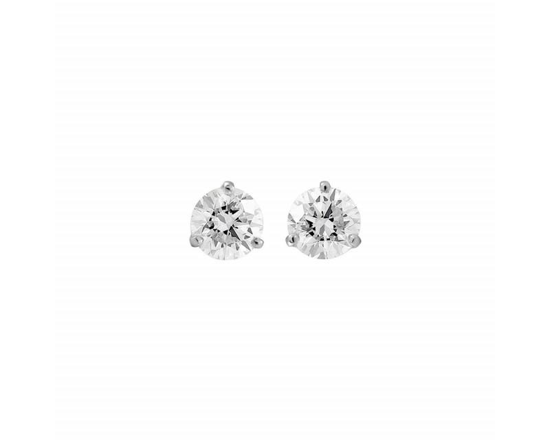 Puces d'oreille or blanc diamants