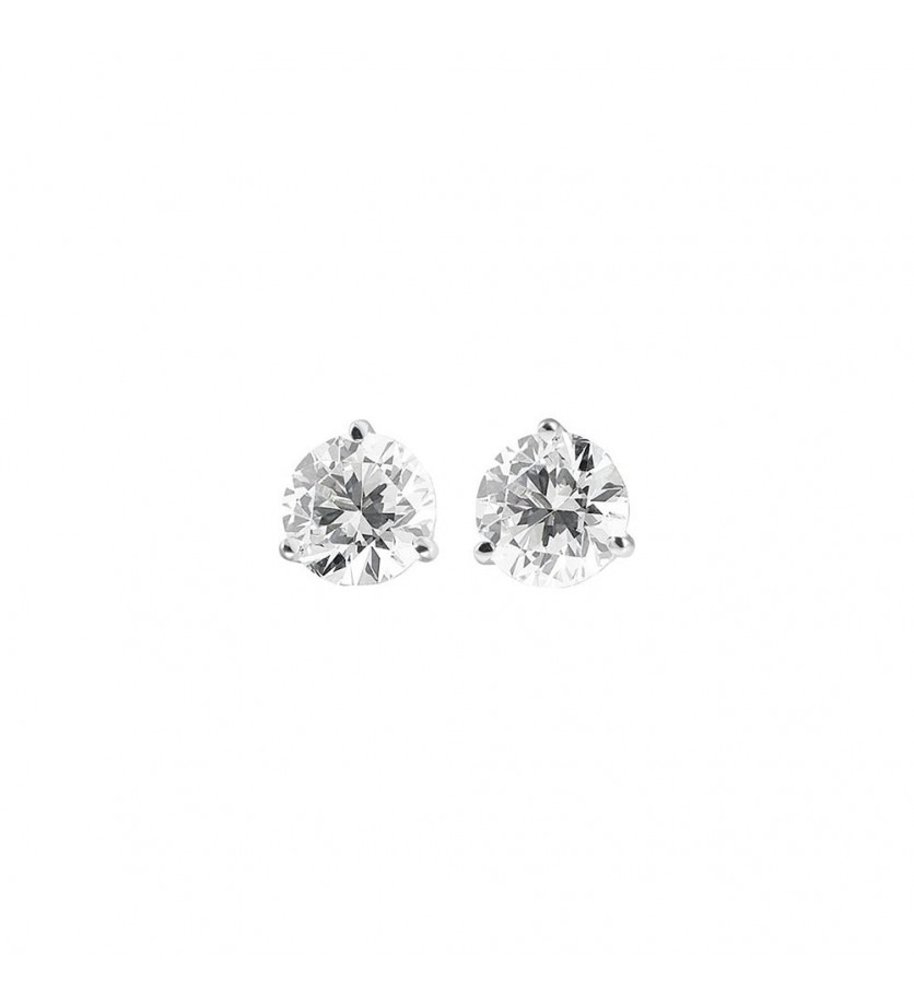 FROJO Boucles d'oreille or gris 3 griffes diamants 0,90ct GSI
