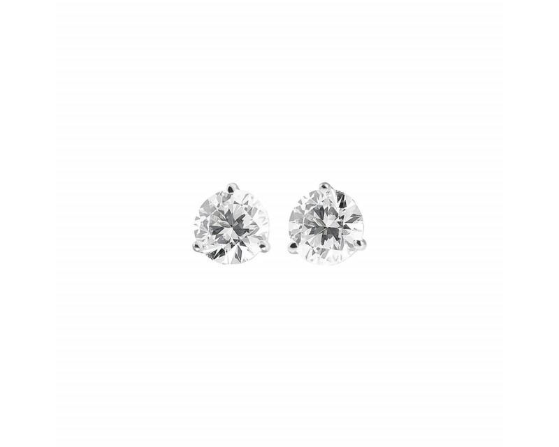 Boucles d'oreille or blanc diamants