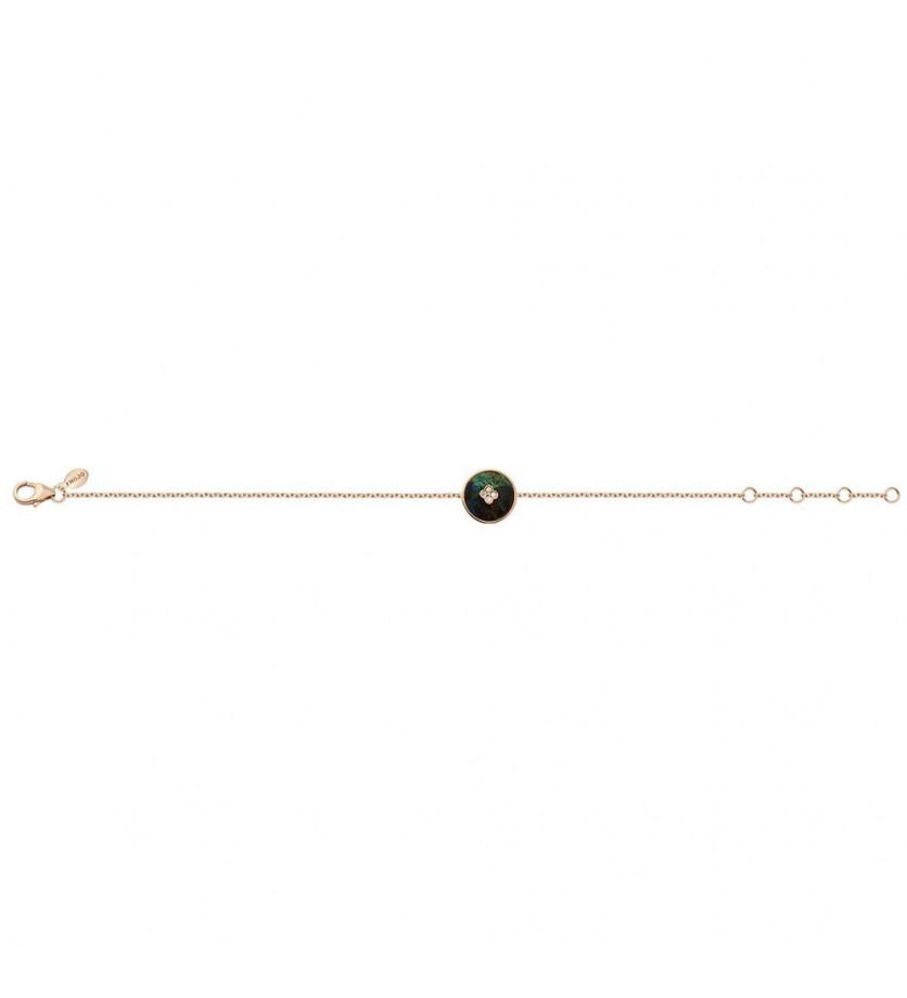 FROJO Bracelet pastille azurite 1.84cts diamants or rose sur chaîne en or rose longueur ajustable