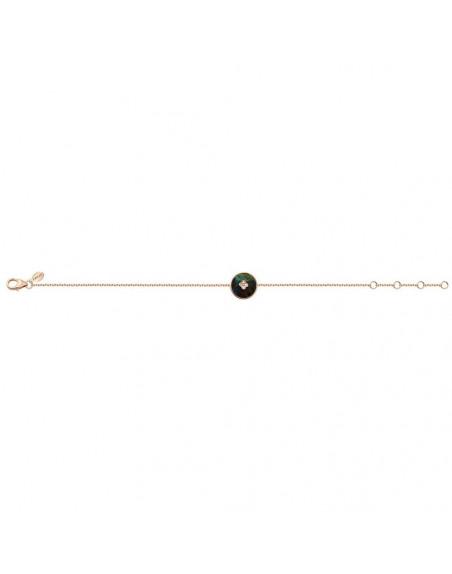 Bracelet pastille azurite 1.84cts diamants or rose sur chaîne en or rose longueur ajustable