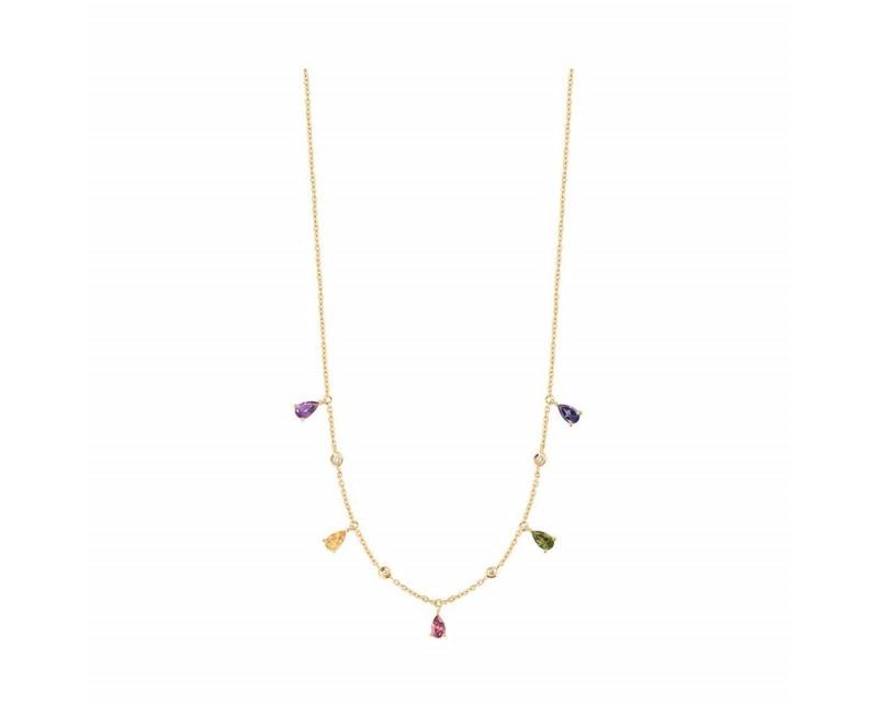 FROJO Collier or jaune multi-pierres taille poire: iolite, tourmaline rose et verte, améthyste, ci