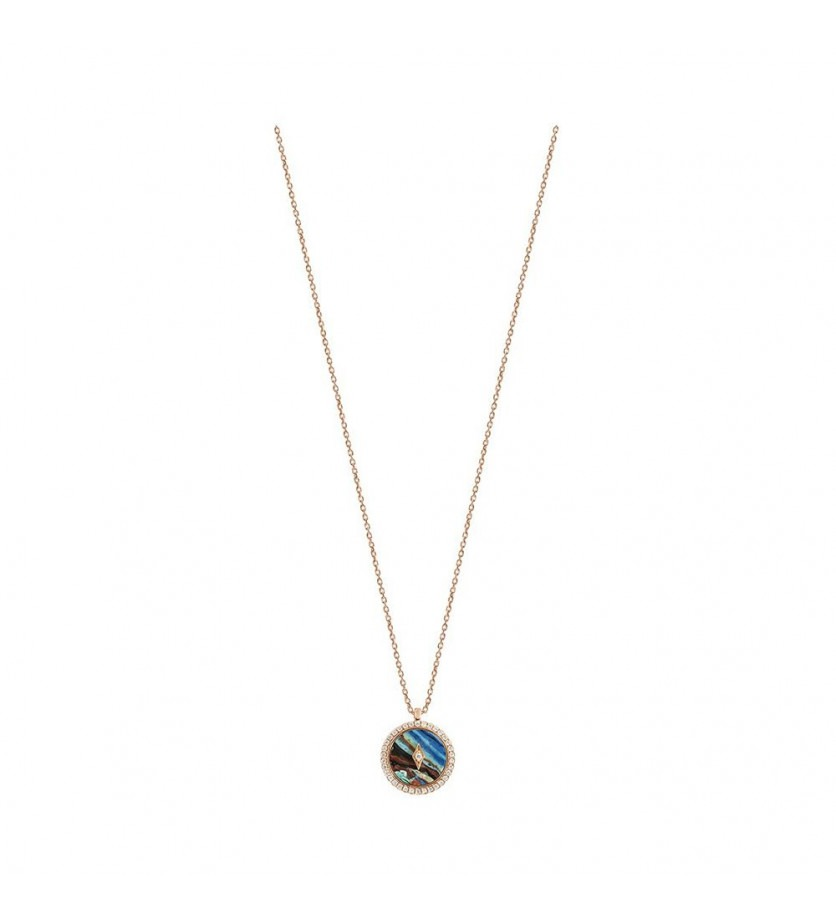 FROJO Pendentif Pastille pierre dure entourage diamants sur chaîne forçat diamanté en or rose 45cm