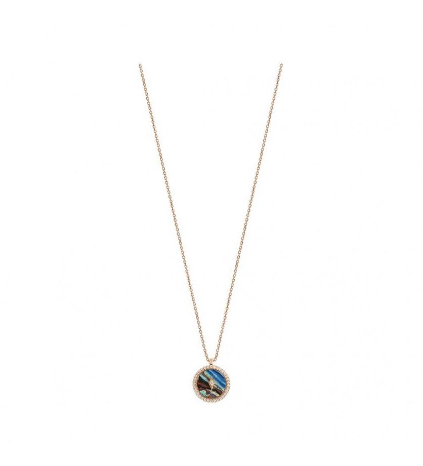 Pendentif Pastille pierre dure entourage diamants sur chaîne forçat diamanté en or rose