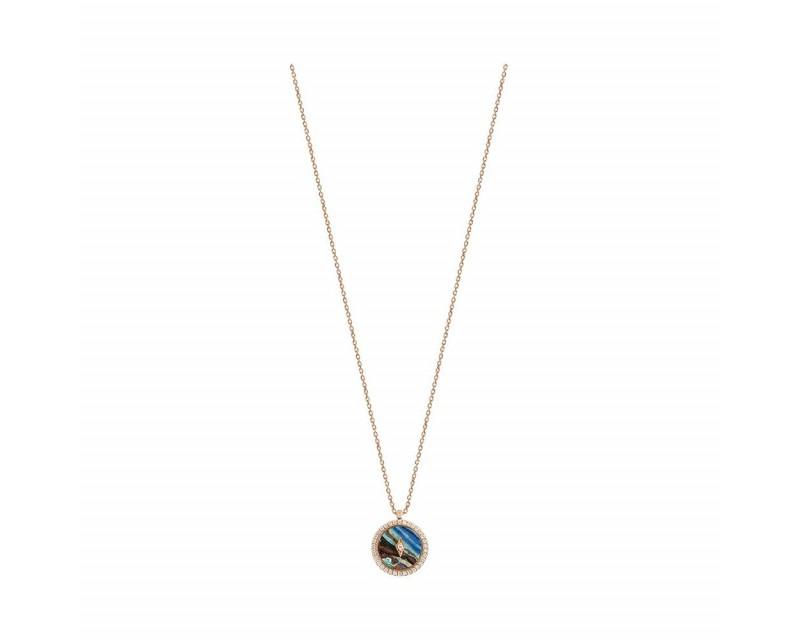 Pendentif Pastille pierre dure entourage diamants sur chaîne forçat diamanté en or rose 45cm ajustab