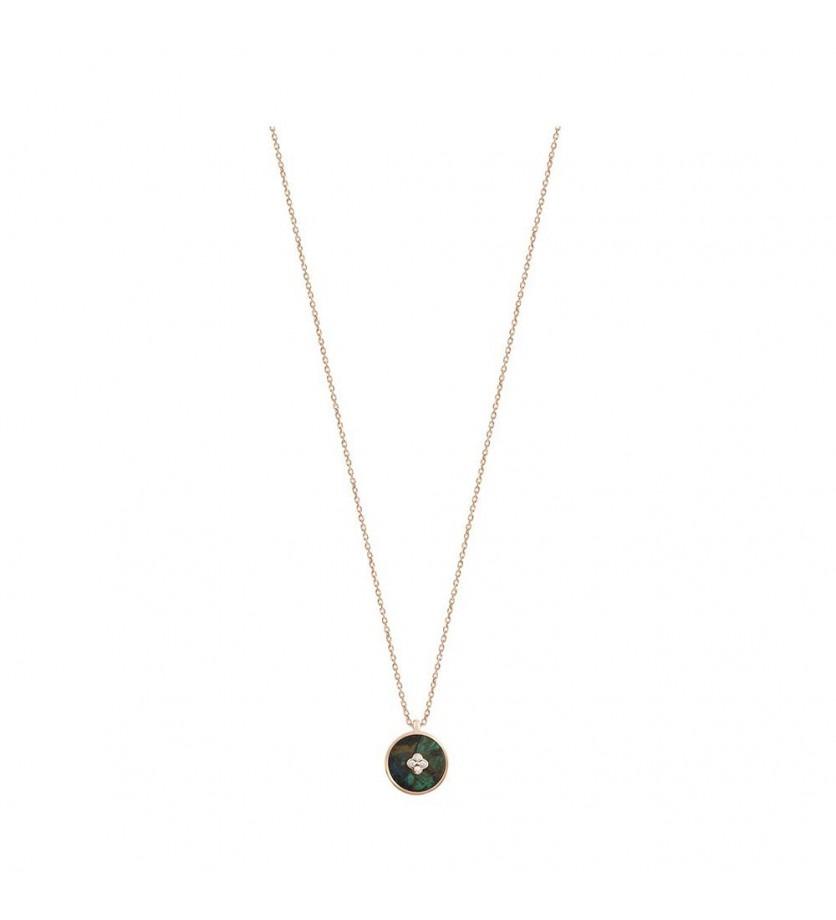 Pendentif Pastille en azurite et diamants sur chaine forçat diamanté or rose