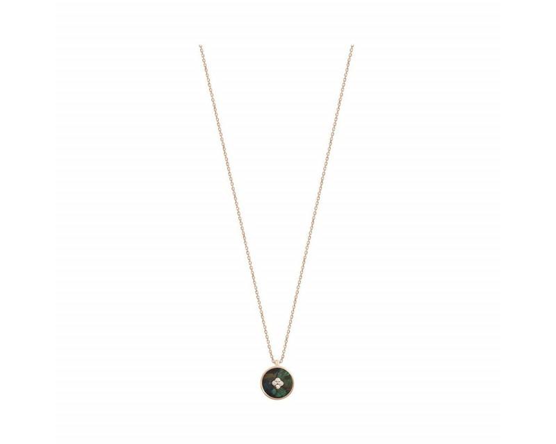 Pendentif Pastille en azurite et diamants sur chaine or rose 45cm