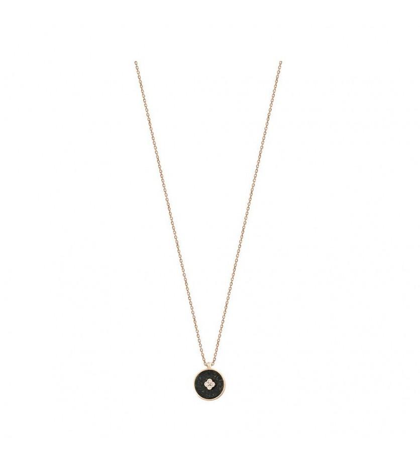 FROJO Pendentif Pastille en jade noire et diamants sur chaîne forcat diamanté or rose 45cm ajustab