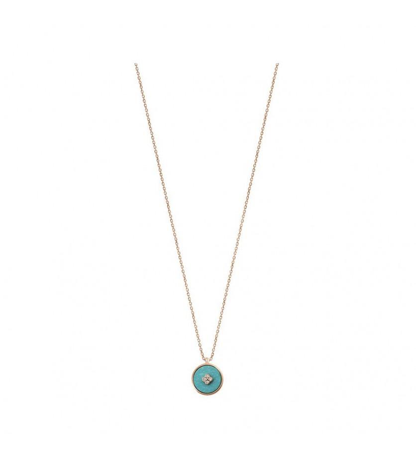 FROJO Pendentif Pastille en turquoise et diamants sur chaîne forcat diamanté en or rose 45cm ajust