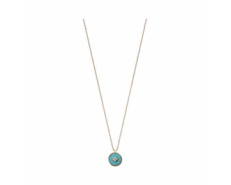 Pendentif Pastille en turquoise et diamants sur chaîne forcat diamanté en or rose 45 cm