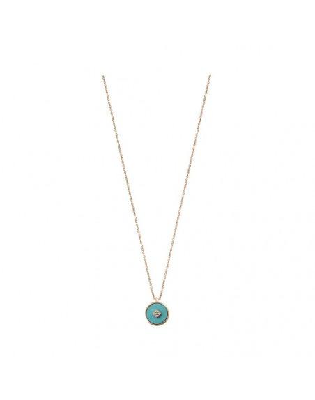 Pendentif Pastille en turquoise et diamants sur chaîne forcat diamanté en or rose 45cm ajustable