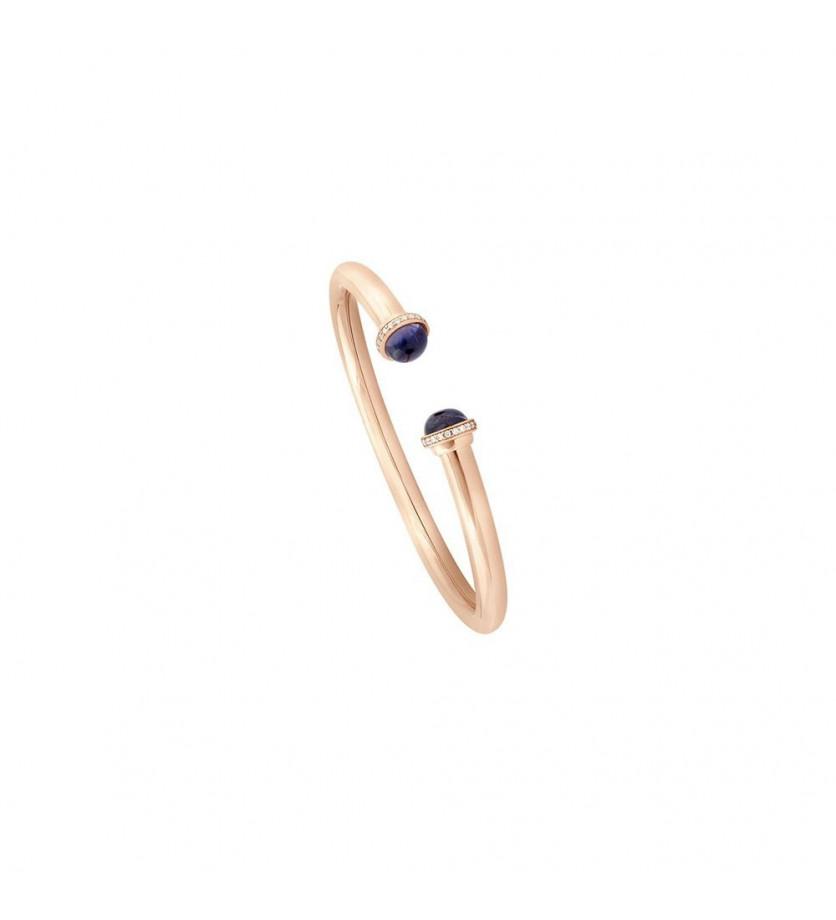 Bracelet Petit Pavé 5mm en or rose, iolite et diamants