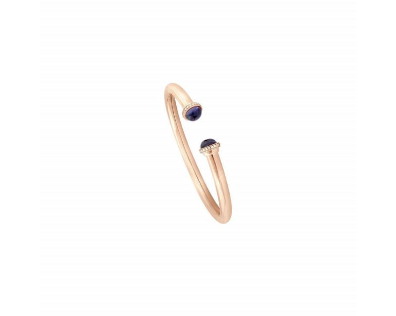 Bracelet Petit Pavé Or rose, iolite et Diamants