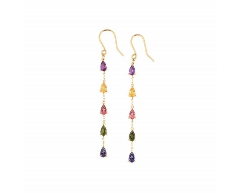 FROJO Boucles d'oreilles pendantes en or jaune avec multi- pierres taille poire: améthyste, citrin