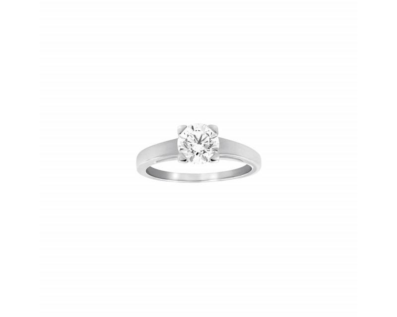 FROJO Solitaire or gris centre diamant 1ct01 taille brillant GSI certifié HRD