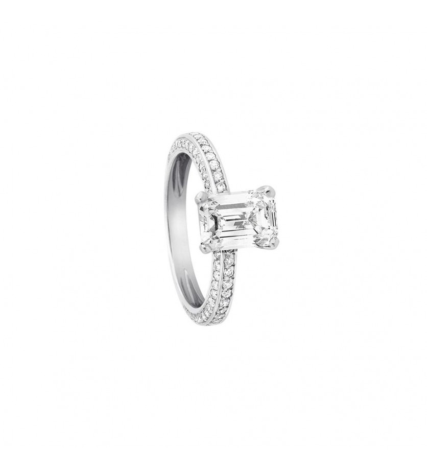 FROJO Solitaire or blanc Diamant taille émeraude