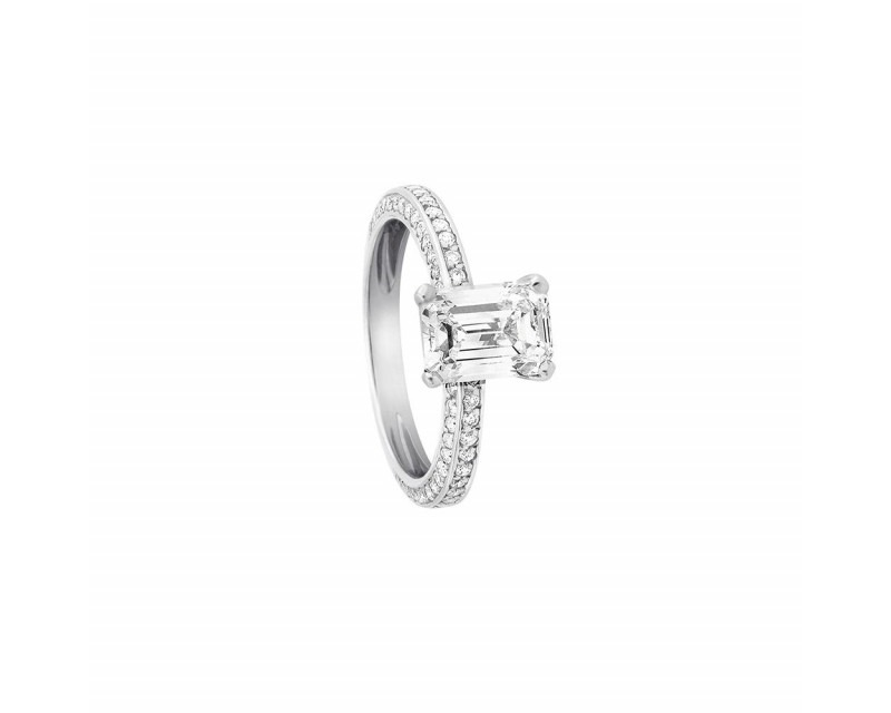 FROJO Solitaire or gris diamant taille émeraude 2,13ct FSI1 certificat GIA monture pavé