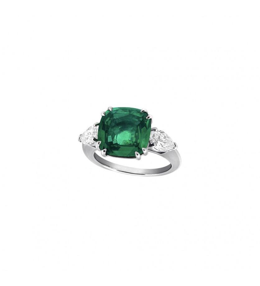Bague or gris émeraude de colombie taille coussin 2 diamants taille poire 0,98ct