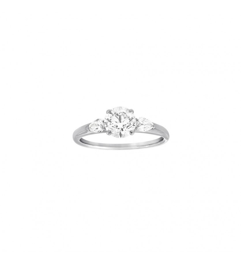 FROJO Bague Solitaire or gris diamant 1,01ct GSI1 certificat GIA + diamants poires 0,26