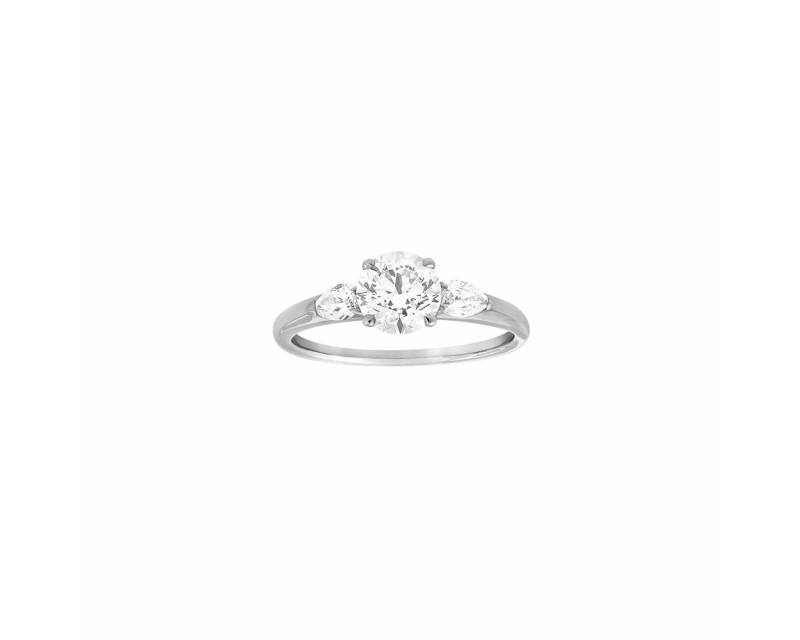 FROJO Bague Solitaire or gris diamant 1,01ct GSI1 certificat GIA + diamants poires 0,26