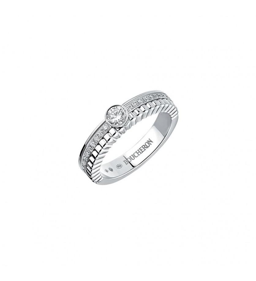 Solitaire Quatre Radiant Edition or blanc serti diamant