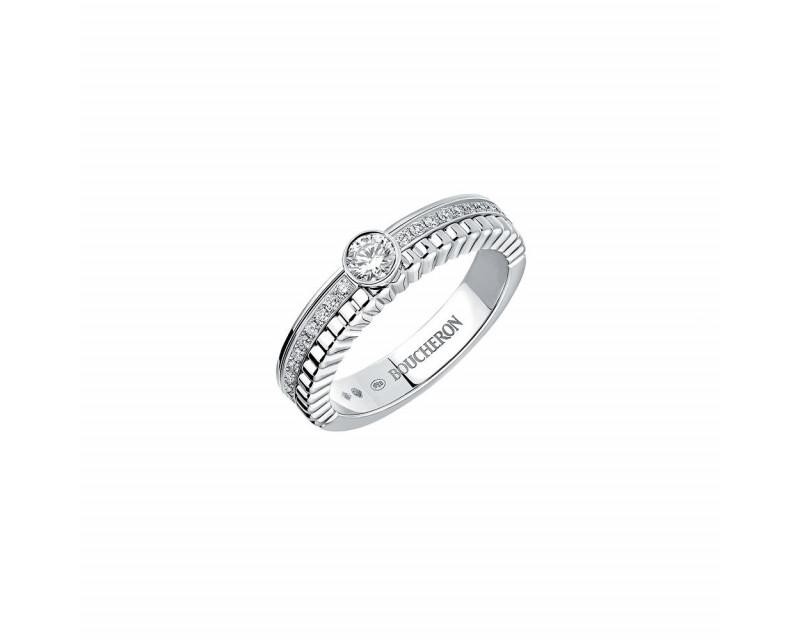 BOUCHERON Solitaire Quatre Radiant Edition or blanc serti d'un diamant rond VVS Certificat GIA