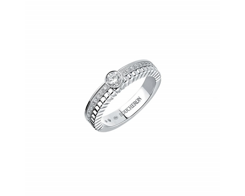 Solitaire Quatre Radiant Edition or blanc serti d'un diamant rond VVS Certificat GIA 6147543941