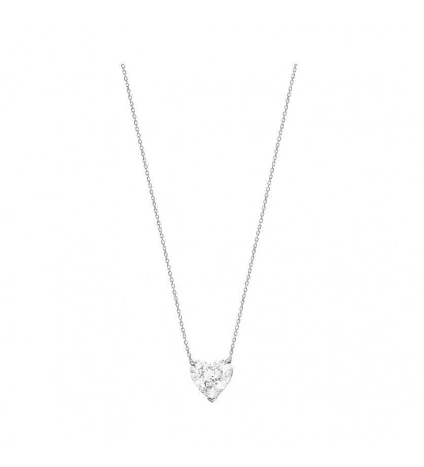 FROJO Pendentif or gris diamant coeur 1,63ct ESI1 certificat HRD