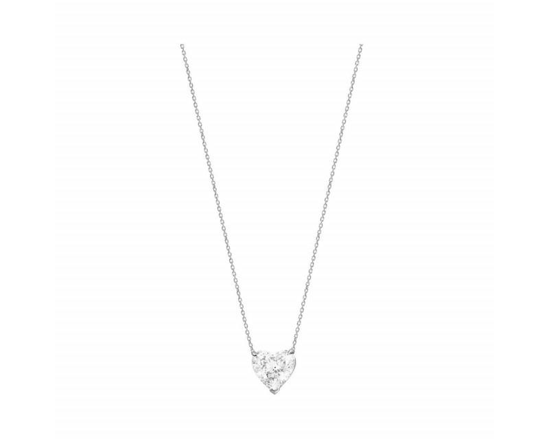 Pendentif or blanc diamant coeur