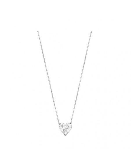 Pendentif or gris diamant coeur 1,63ct ESI1