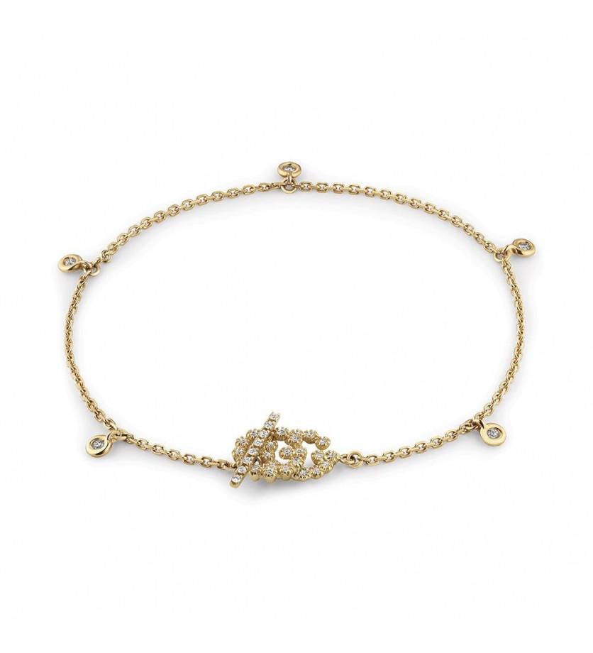 GUCCI Bracelet Running G M or jaune diamants