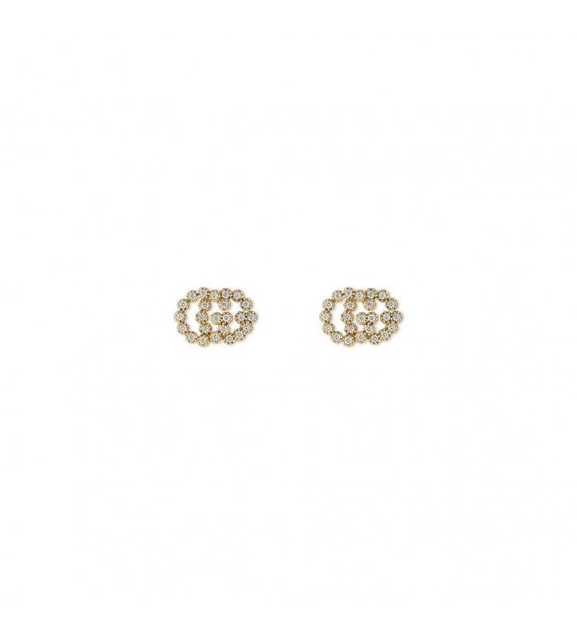 GUCCI Puces d'oreille Running G M or jaune diamants